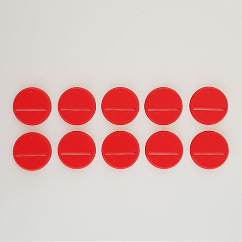 32mm Round Slot Bases Red