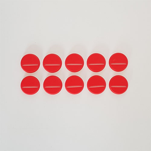 25mm Round Slot Bases Red