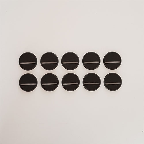 25mm Round Slot Bases Black